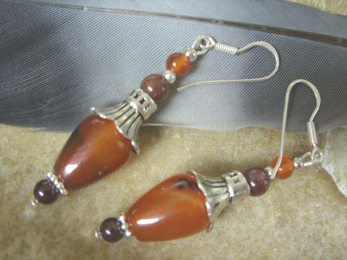 Edle rote Achat Zapfen Blüten Ohrringe m.Granat Edelstein & 925 Silber Ohrhaken