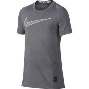 043af8633 Nike Pro Boys Youth SMALL GREY Short Sleeve Training Top NEW DRY FIT ...