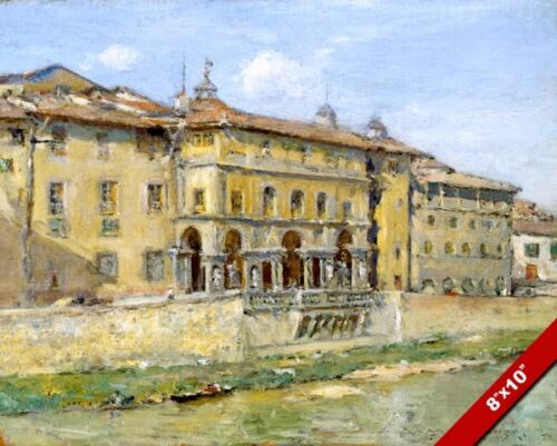 ARNO RIVER FLORENCE ITALY NEAR PONTE VECCHIO BRIDGE PAINTING ART CANVAS PRINT