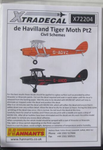Xtradecal 1/72 X72204 de havilland tiger moth pt 2 decal set-civil les régimes