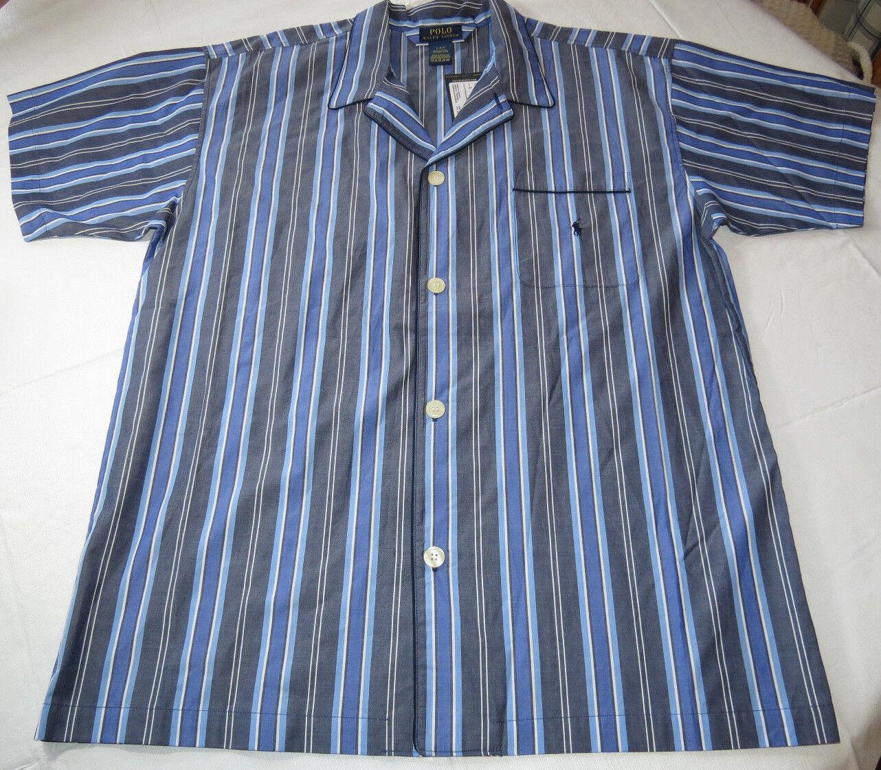 Men's Polo Sleep shirt PJ night shirt logo XL xlarge bluees white stripes P506SR