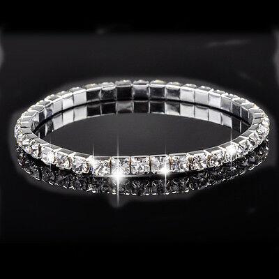 Lady Gifts Jewelry White Gold Gp Rhinestone Crystal Zirconia Tennis Bracelet