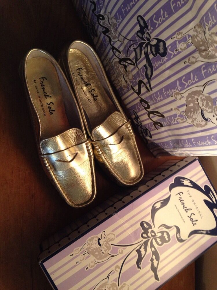 French Sole gold Leather Loafers Slip on shoes 41  UK 7 Jane Winkworth London