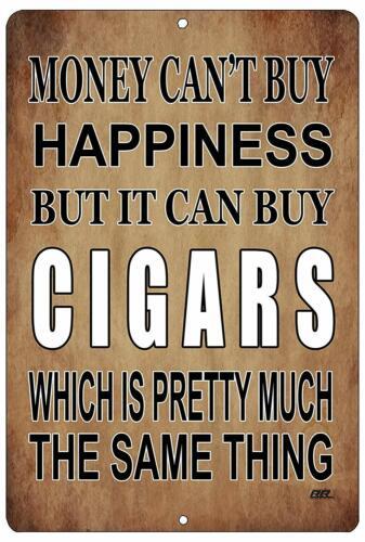 Funny Sarcastic Metal Tin Sign Wall Decor Man Cave Bar Money Happiness Cigars