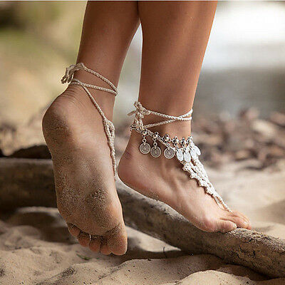 Women Barefoot Foot Jewelry Ankle Bracelet Antique Silver Coin Squirrels Anklet