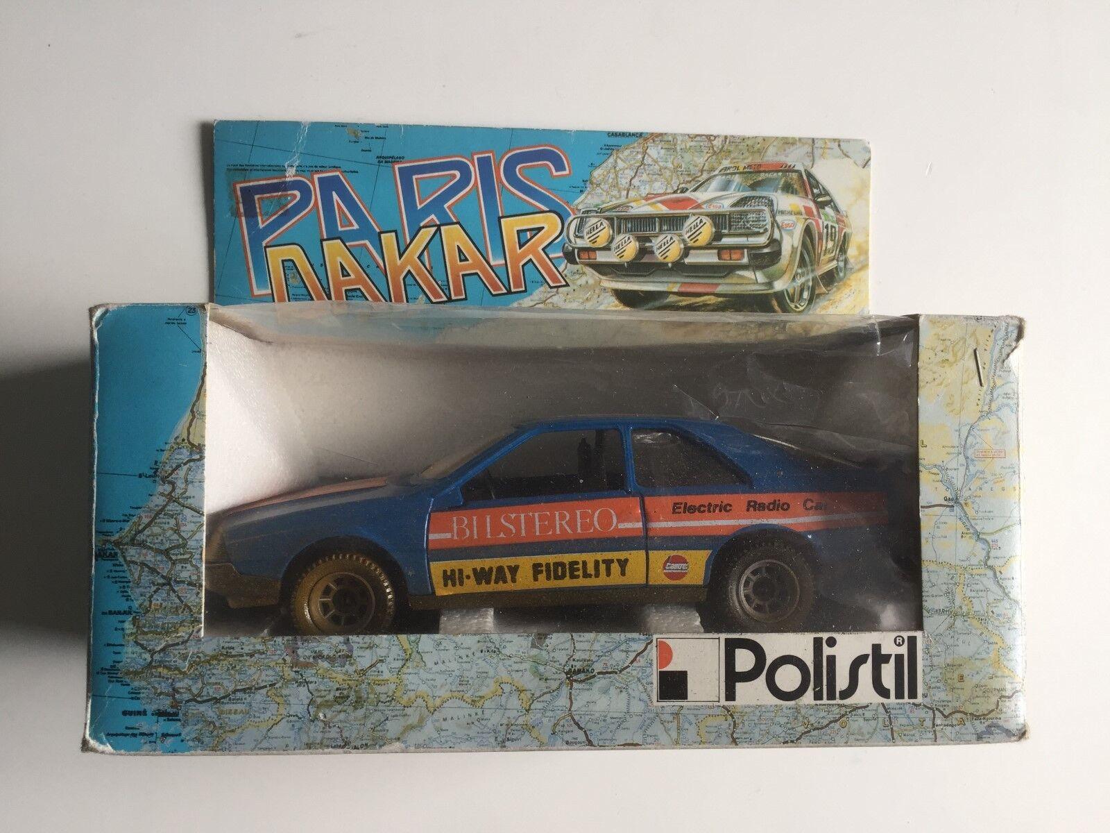 POLISTIL Parigi Dakar RENAULT 7 bilstereo modello di auto auto 1:24 IN SCATOLA ORIGINALE RALLY