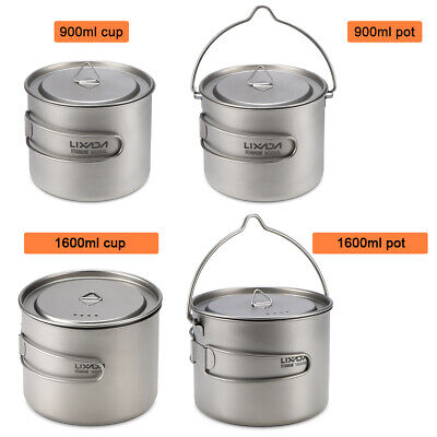 Camping 900ml//1600ml Titanium Pot Titanium Cup with Lid and Foldable Handle L1B6