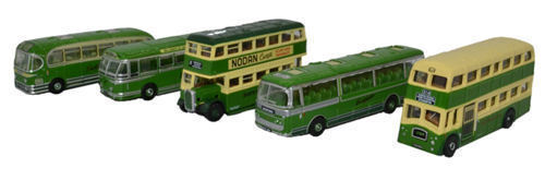 OXFORD DIECAST, NSET003, FIVE PIECE SOUTHDOWN BUS SET, N GAUGE