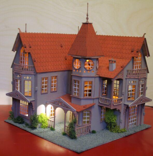 Analitico Laser Cut Ply Legno Casa Di Bambole In Legno Fantasia Mansion 3d Puzzle/kit