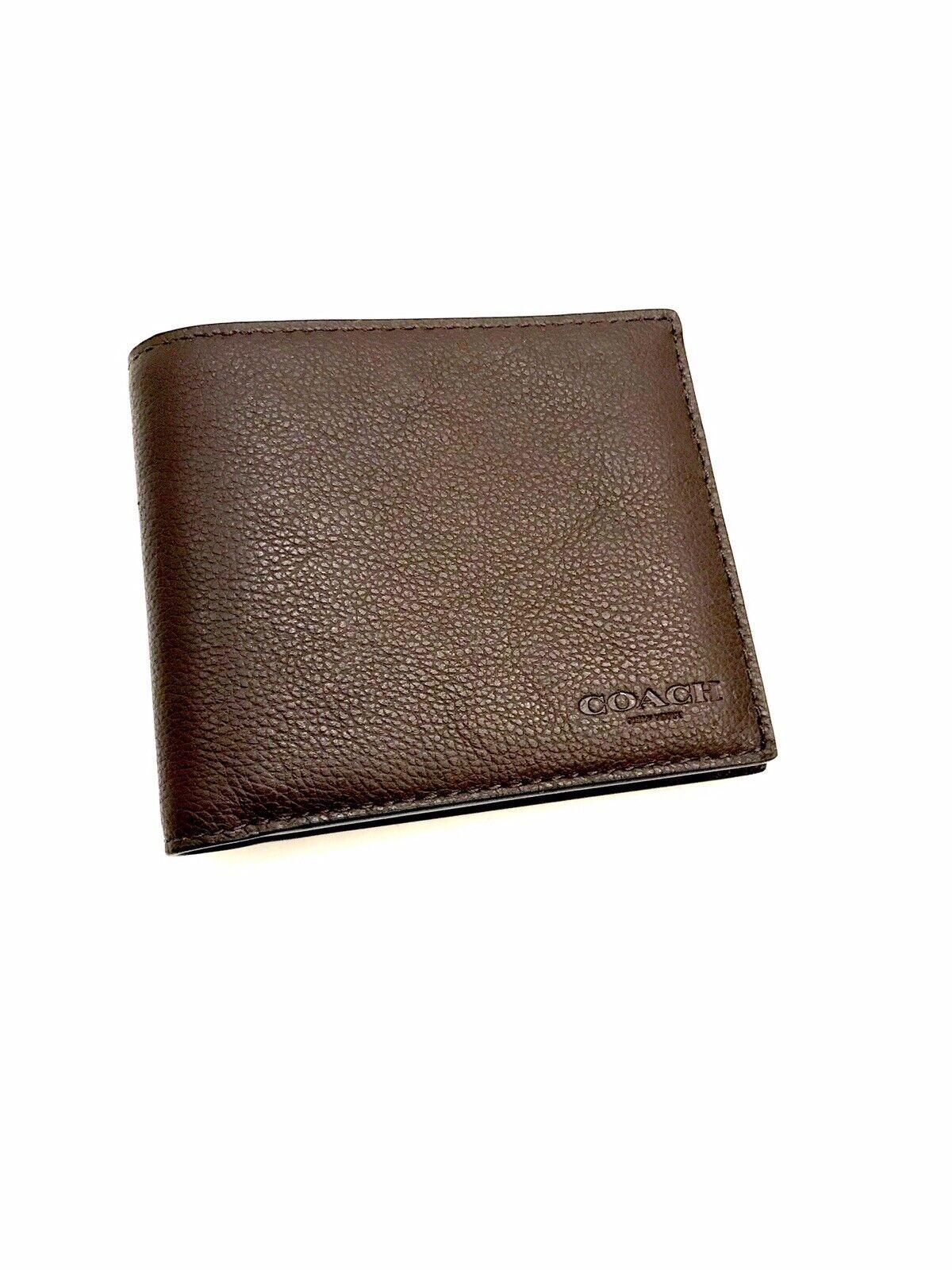 COACH New York Men's Luxury Pebble Grain Leather Bi Fold Brown Wallet NWOT