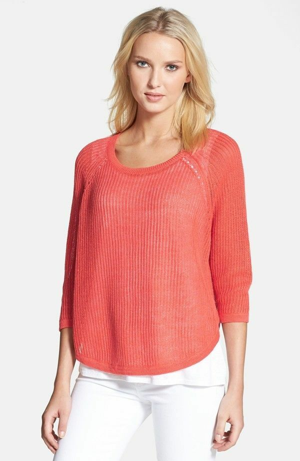 Eileen Fisher NWT  178 orange 100% linen 3 4 sleeves sweater size Large