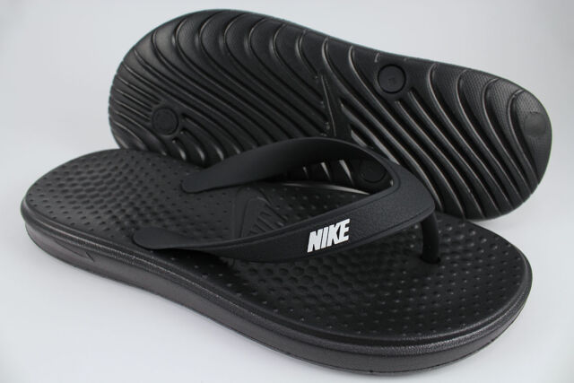 Nike Solay Mens 882690 005 Black White Thong Sandals Foam Sole Flip
