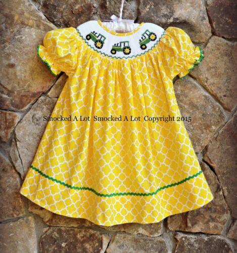 Smocked a lot girls bishop dress - Smocked A Lot Bishop Dress John Deere Tractor Yellow Green Quatrefoil