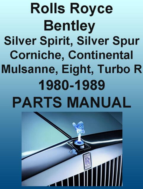 ROLLS-ROYCE Bentley 1980-1989 PARTS MANUAL Silver Spirit Spur Corniche 8 Cont CD