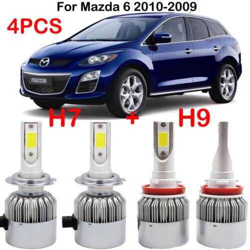 4PCS Combo H7 H9 LED Headlight Kits Bulbs For Mazda 6 2010-2009 Hi//Lo Beam 6000K