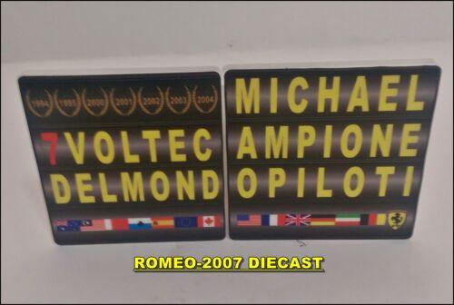 1:18 Pitboard F1 Formula 1 Michael Schumacher 7 World Champion to minichamps