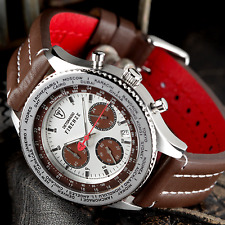 DETOMASO Firenze Mens 42mm Chronograph Watch Leather White & Brown Dial New £129