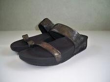 abdd97509eb2 Fit Flop Women s Lulu Shimmersuede 506-001 Slide Black Sandals Size 10  SUPERB