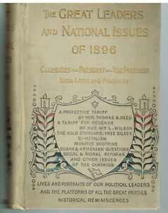Great-Leaders-amp-National-Issues-of-1896-1st-Ed-1896-Rare-Antique-Book