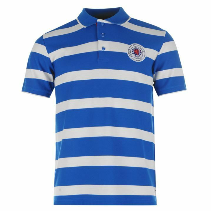 Glasgow Rangers FC Stripe Polo Shirt Mens Royal White Football Soccer Szs S-2XL