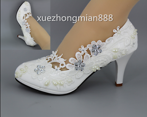 New womens heel white flower lace crystal wedding shoes pumps bride image is loading new women 039 s heel white flower lace mightylinksfo