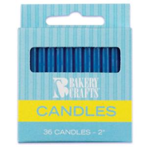 DARK BLUE 2 HIGH BIRTHDAY CANDLES PLAIN 36 PIECES
