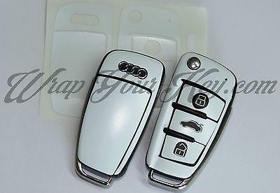 Weiß Satin Schlüssel Wrap Abdeckung Audi Smart Fernbedienung A1 A3 A4 A5 A6 A8