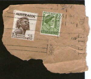POSTAGE STAMPS x2 AUSTRALIA ABORIGINE - 2 SHILLINGS & SIXPENCE ; green two pence