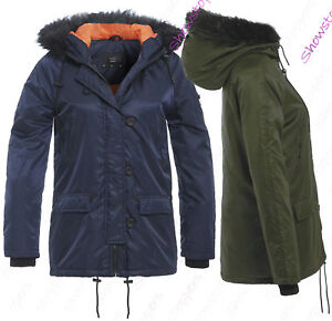 NEW Size 8 10 12 14 16 Womens PADDED COAT Ladies JACKET Fur Quilted Jade Parka