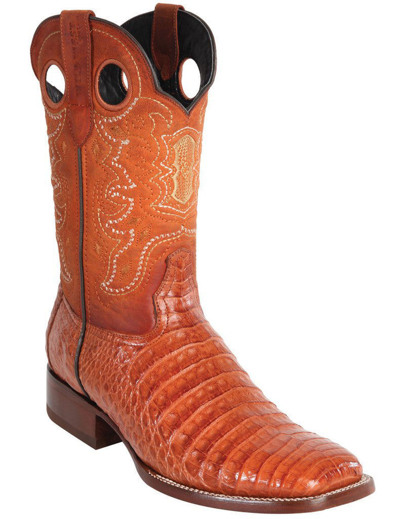 WILD WEST COGNAC GENUINE CROCODILE BELLY COWBOY avvio RANCH-WIDE SQUARE-TOE (EE)