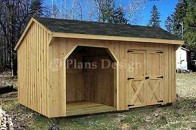 Combo Firewood and Storage Shed Plans / Blueprints 8x16 ft Design #70816
