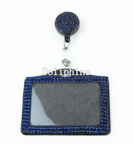 Bling Multi Couleurs Strass Rétractable Reel avec Horizontal Badge Holder