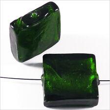 Lot de 4 perles en verre Feuille d'Argent Carrées 20mm Vert