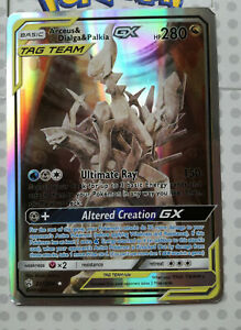 Pokemon-carte-ARCEUS-A-amp-Dialga-et-Palkia-GX-221-236-HOLO-FULL-ART-Comme-neuf-proxy-Carte