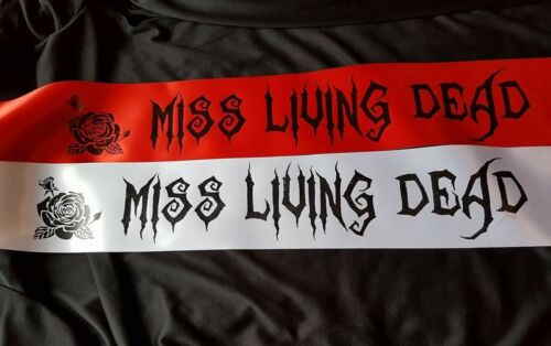 Halloween sash miss living dead  Halloween Fancy Dress Outfit Cheap Costume