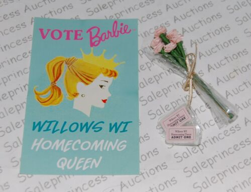 NEW Barbie BFC Homecoming Queen Doll FLOWERS ROSES POSTER TICKETS LE 5500 Loose