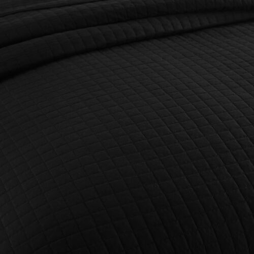 Tagesdecke Bettüberwurf Steppdecke kariert 240x260 cm Schwarz BWP5018sz04
