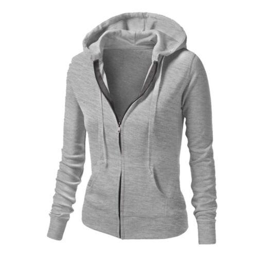 Winter Plain Zip Up Fleece Hoody Women Sweatshirt Coat Jacket Top Hoodies 4-14