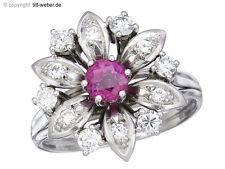 """Blüten Ring """"Rubin und Brillanten"""" 585er Weißgold"""