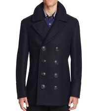New Burberry Brit Authentic 2017 Kirkham Pea Coat Nwt Navy