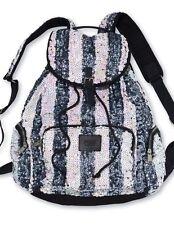 Victoria's Secret PINK Black White Stripe Bling Sequin Backpack NWOT