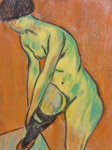 Nude-with-Garter-Impress-Chalk-Watercolor-Willi-steels-after-Adolf-erbsloh