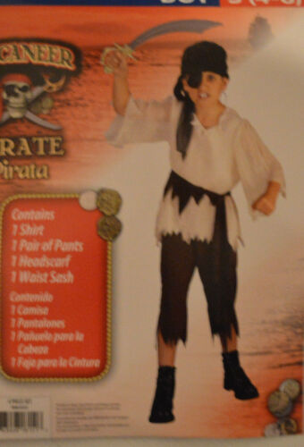 4-6 8-10 Boy/'s Buccaneer Pirate Halloween 4 Pc Costume Outfit Sizes S M