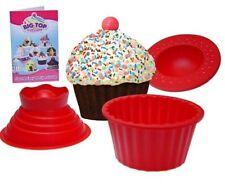 3Pack Giant Big Silicone Cupcake Cake Mould Top Cupcake Bake Set Baking Mold RED