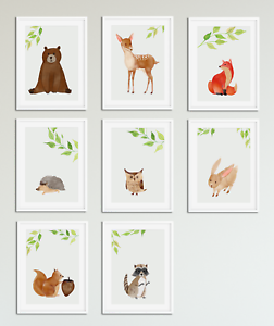 Watercolour Animal Prints For Nursery Baby Bedroom Boys Girls Room Pictures A5