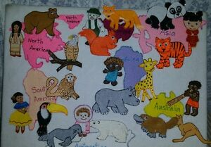 Felt board story teacher resource 7 continents world map habitat image is loading felt board story teacher resource 7 continents world gumiabroncs Images