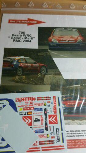 DECALS 1//18 REF 705 CITROEN XSARA WRC CARLOS SAINZ RALLYE MONTE CARLO 2004 RALLY
