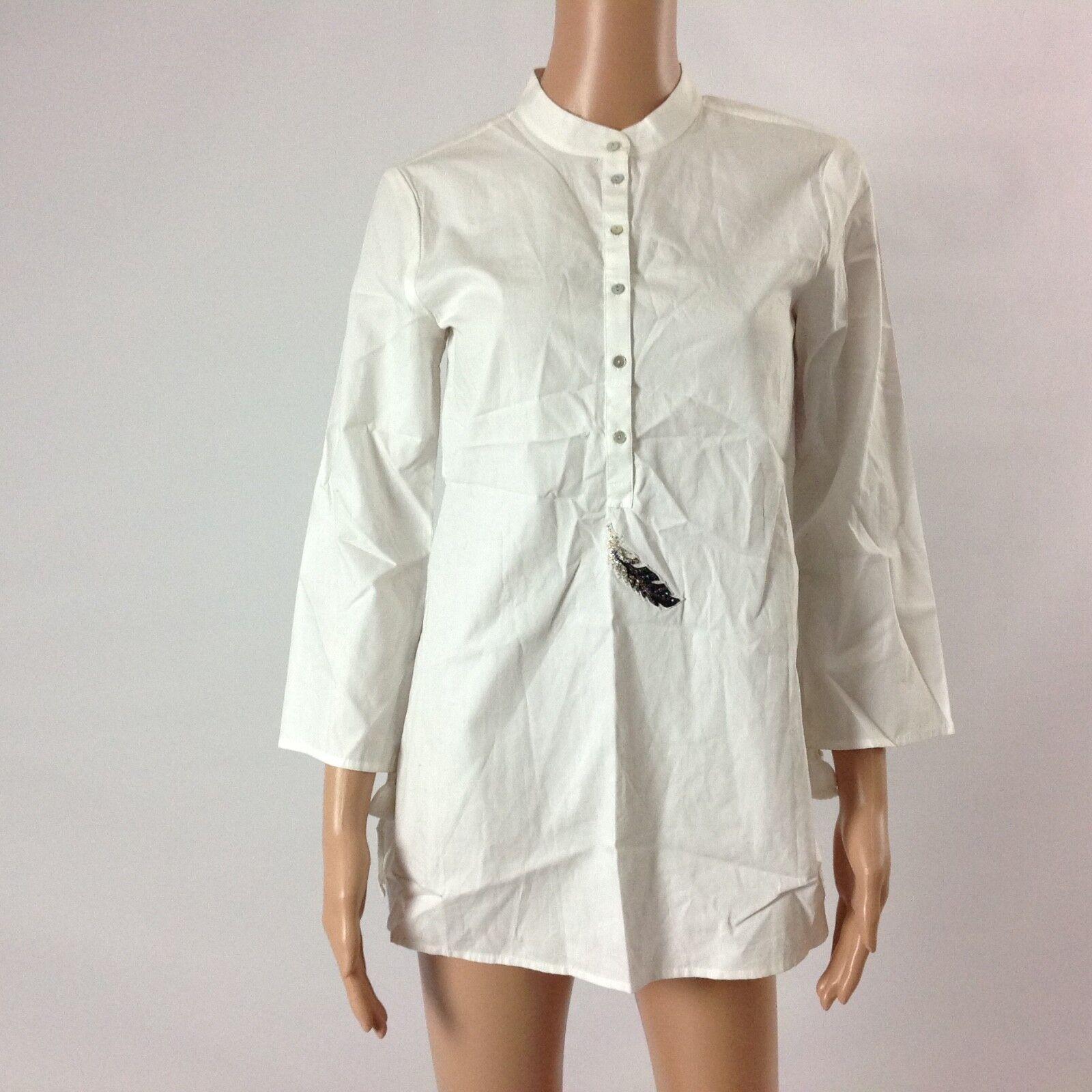 Figue Woherren Shirt Boho Hippy Feather Embellished Beaded Tunic Tassel Sz XS New