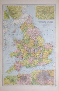 1923 Landkarte England & Wales York Durham Essex Manchester London Birmingham