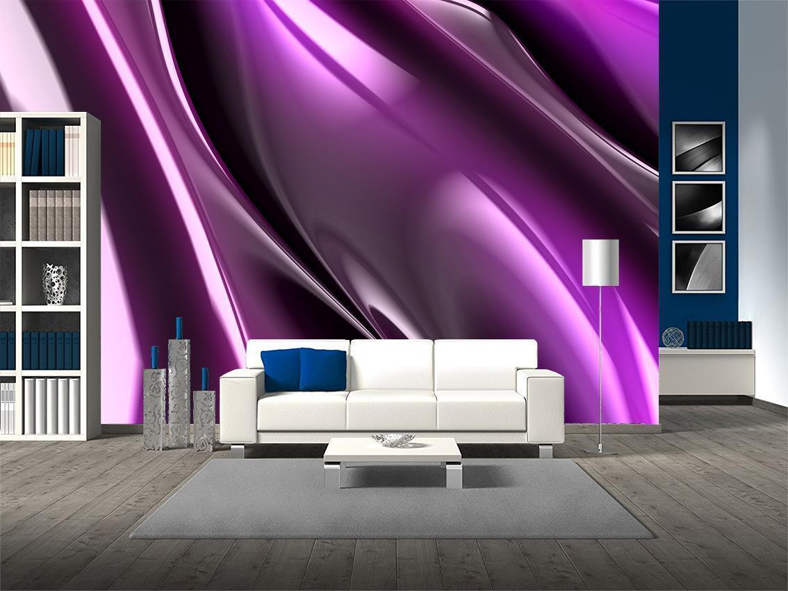 lila Fractal Pattern Wallpaper Woven Self-Adhesive Wall Art Mural Decal M219